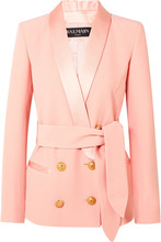 BALMAIN | Balmain - Belted Double-breasted Crepe Blazer - Baby pink | Clouty