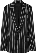 Haider Ackermann | Haider Ackermann - Striped Satin Blazer - Black | Clouty
