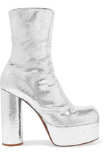 VETEMENTS | Vetements - Metallic Textured-leather Platform Ankle Boots - Silver | Clouty