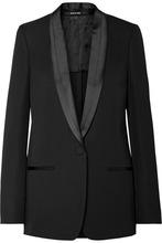 Maison Margiela | Maison Margiela - Satin-trimmed Wool Blazer - Black | Clouty