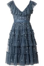 Needle & Thread | Needle & Thread - Sunburst Tiered Embellished Ruffle-trimmed Tulle Midi Dress - Storm blue | Clouty