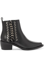 Alexander McQueen | Alexander McQueen - Whipstitched Leather Ankle Boots - Black | Clouty