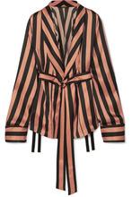 Ann Demeulemeester | Ann Demeulemeester - Striped Silk-satin Jacket - Black | Clouty