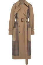 Alexander McQueen | Alexander McQueen - Gabardine And Prince Of Wales Checked Tweed Trench Coat - Sand | Clouty