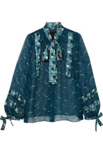Anna Sui | Anna Sui - Cosmos Pussy-bow Printed Crinkled-chiffon Blouse - Teal | Clouty