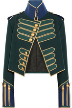 BURBERRY | Burberry - Cropped Embellished Wool Jacket - Forest green | Clouty