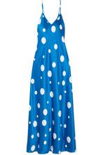 Racil | Racil - Geiko Polka-dot Silk-satin Midi Dress - Blue | Clouty