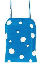 Racil | Racil - Pumpkin Polka-dot Silk-satin Camisole - Royal blue | Clouty