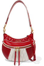 MIU MIU | Miu Miu - Quilted And Matelasse Leather Shoulder Bag - Red | Clouty
