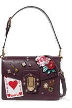Dolce & Gabbana | Dolce & Gabbana - Lucia Embellished Leather Shoulder Bag - Burgundy | Clouty