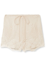 Miguelina | Miguelina - Yara Crocheted Cotton-lace Shorts - Beige | Clouty