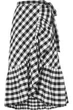 J. Crew | J.Crew - Glo Ruffled Gingham Cotton-poplin Wrap Skirt - Black | Clouty