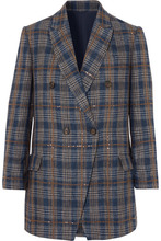 Brunello Cucinelli | Brunello Cucinelli - Sequined Checked Woven Blazer - Blue | Clouty