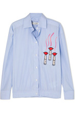 VALENTINO | Valentino - Embellished Appliqued Striped Cotton-poplin Shirt - Blue | Clouty