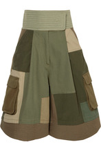 VALENTINO | Valentino - Patchwork Cotton-blend Shorts - Army green | Clouty