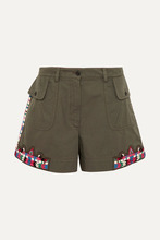 VALENTINO | Valentino - Embellished Cotton-twill Shorts - Army green | Clouty