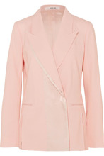 ADEAM | ADEAM - Double-breasted Satin-trimmed Wool-blend Blazer - Baby pink | Clouty