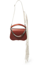 Calvin Klein | CALVIN KLEIN 205W39NYC - Fringed Chain-trimmed Leather Shoulder Bag - Chocolate | Clouty