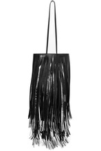 Calvin Klein | CALVIN KLEIN 205W39NYC - Fringed Two-tone Leather Bucket Bag - Black | Clouty