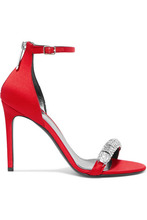 Calvin Klein | CALVIN KLEIN 205W39NYC - Camelle Crystal-embellished Satin Sandals - Red | Clouty