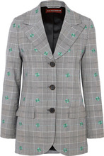 ALEXACHUNG | ALEXACHUNG - Embroidered Checked Wool-blend Blazer - Gray | Clouty