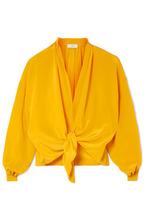 Tome | TOME - Cropped Knotted Silk Crepe De Chine Top - Saffron | Clouty
