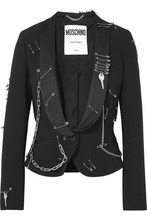 MOSCHINO | Moschino - Embellished Crepe Blazer - Black | Clouty