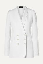 Theory | Theory - Double-breasted Linen Blazer - White | Clouty