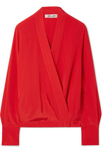 Diane Von Furstenberg | Diane von Furstenberg - Silk Crepe De Chine Wrap Blouse - Red | Clouty