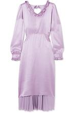 Balenciaga | Balenciaga - Hybrid Ruffled Silk-satin And Pleated Crepe De Chine Dress - Purple | Clouty