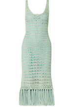 Acne Studios | Acne Studios - Arari Dance Tasseled Crochet-knit Midi Dress - Mint | Clouty