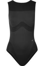 NIKE | Nike - Seamless Studio Mesh-paneled Stretch Bodysuit - Black | Clouty