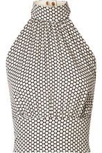 Diane Von Furstenberg | Diane von Furstenberg - Polka-dot Stretch-silk Crepe Halterneck Top - Off-white | Clouty