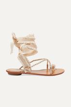 René Caovilla | Rene Caovilla - Elizabella Lace-up Embellished Leather And Grosgrain Sandals - Beige | Clouty