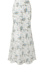 Brock Collection | Brock Collection - Sophie Floral-print Silk-taffeta Maxi Skirt - Blue | Clouty