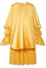 Roksanda | Roksanda - Rosina Oversized Hammered Silk-satin Blouse - Marigold | Clouty