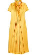 Roksanda | Roksanda - Rahine Ruffled Silk-satin Midi Dress - Marigold | Clouty