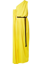 Marc Jacobs | Marc Jacobs - Belted One-shoulder Crepe Gown - Yellow | Clouty