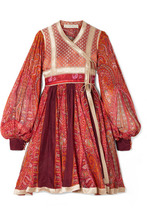 Etro | Etro - Paneled Cotton And Silk-blend Jacquard And Printed Chiffon Wrap Dress - Red | Clouty