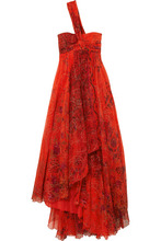 Etro | Etro - One-shoulder Embellished Printed Silk-chiffon Gown - Red | Clouty