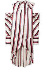 Monse | Monse - Oversized Cold-shoulder Striped Satin-twill Blouse - White | Clouty