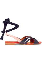 Malone Souliers | Malone Souliers - + Roksanda Marlene Color-block Leather Sandals - Navy | Clouty