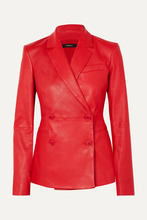 Theory | Theory - Bristol Double-breasted Leather Blazer - Red | Clouty