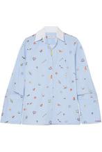 Mira Mikati   Mira Mikati - Venice Beach Printed Cotton-poplin Shirt - Light blue   Clouty