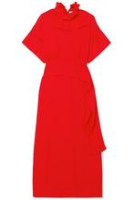 Victoria Beckham | Victoria Beckham - Ruffled Silk Crepe De Chine Midi Dress - Red | Clouty