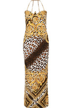 Versace | Versace - Chain-trimmed Printed Satin Gown - Brown | Clouty