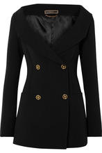 Versace | Versace - Off-the-shoulder Double-breasted Silk Blazer - Black | Clouty