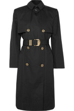 Versace | Versace - Belted Cotton-blend Gabardine Trench Coat - Black | Clouty