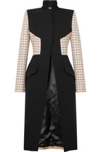 Alexander McQueen | Alexander McQueen - Paneled Checked Wool-blend Coat - Black | Clouty
