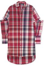 Alexander McQueen   Alexander McQueen - Oversized Cutout Checked Silk And Cotton-blend Shirt - Red   Clouty
